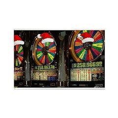 Las Vegas Christmas Slot Mach Rectangle Magnet