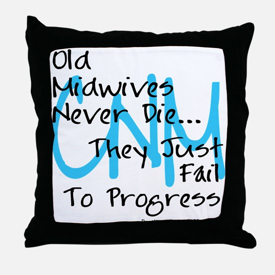 Old Midwives Blue Throw Pillow