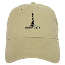 Surf City NC - Lighthouse Design Baseball Cap