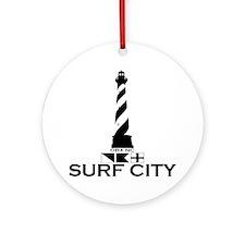 Surf City NC - Lighthouse Design Ornament (Round)