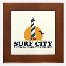 Surf City NC - Lighthouse Design Framed Tile