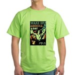 Wake Up America Day (Front) Green T-Shirt