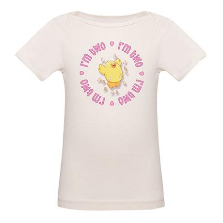 Happy Chick 2nd Birthday Pink Organic Baby T-Shirt