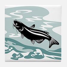 catfish woodcut Tile Coaster