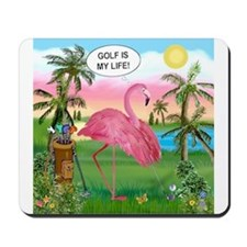 Golfing flamingo Mousepad