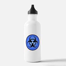 Blue Biohazard Symbol Water Bottle