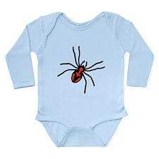 Red & Black Spider Long Sleeve Infant Bodysuit