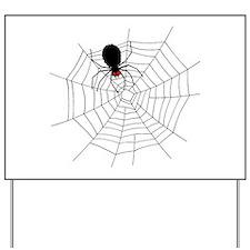 Black Spider in Web Yard Sign
