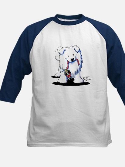 Penguin Sled Samoyed Kids Baseball Jersey