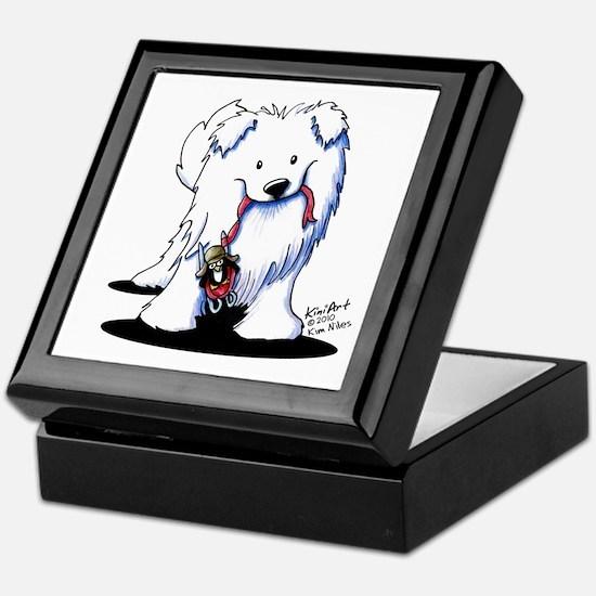 Penguin Sled Samoyed Keepsake Box