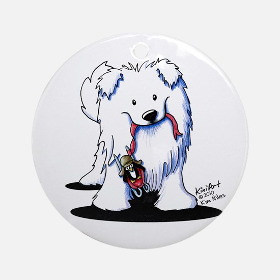 Penguin Sled Samoyed Ornament (Round)