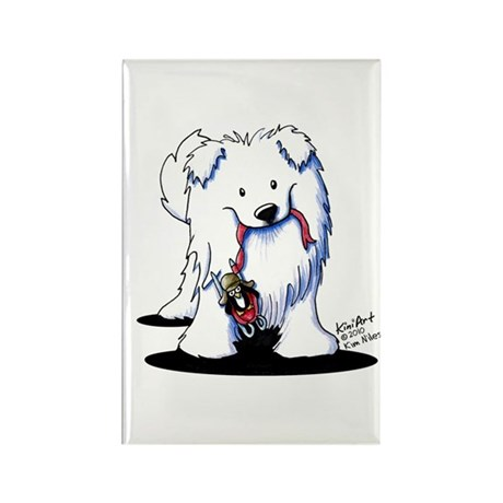 Penguin Sled Samoyed Rectangle Magnet