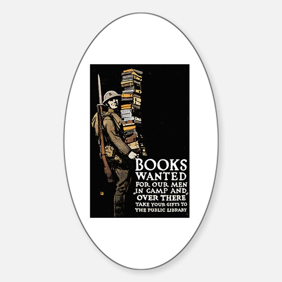 Books Wanted Poster Art Oval Decal