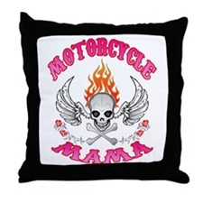 MotorCycle Mama' Winged Skull Throw Pillow