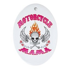 MotorCycle Mama' Winged Skull Ornament (Oval)