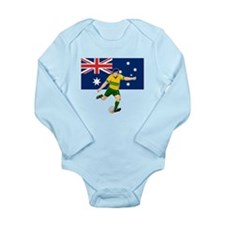 Rugby player kicking Long Sleeve Infant Bodysuit