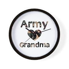 Army Grandma Heart Camo Wall Clock