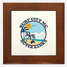 Surf City NC - Beach Design Framed Tile