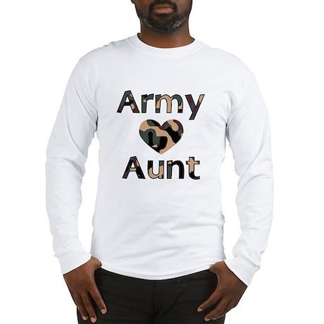 Army Aunt Heart Camo Long Sleeve T-Shirt