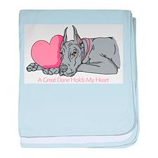 Blue Dane Holds Heart Infant Blanket