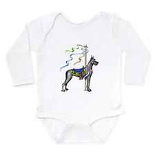 Great Dane Black Carousel Long Sleeve Infant Bodys