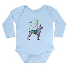 Great Dane Blue Carousel Long Sleeve Infant Bodysu