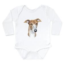 Greyhound Brindle Bust Long Sleeve Infant Bodysuit
