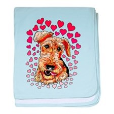 Airedale Terrier Hearts baby blanket