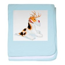 Wire Fox Terrier Reindeer Infant Blanket