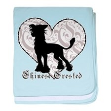 Chinese Crested Heart BW Infant Blanket