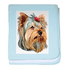 Yorkie Red Bow Infant Blanket