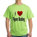 I Love Figure Skating (Front) Green T-Shirt