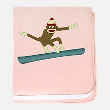 Sock Monkey Snowboarder Infant Blanket