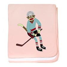 Sock Monkey Ice Hockey Player Infant Blanket