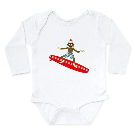 Sock Monkey Surfer Long Sleeve Infant Bodysuit
