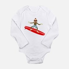 Sock Monkey Surfer Long Sleeve Infant Bodysuit