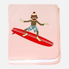 Sock Monkey Longboard Surfer Infant Blanket