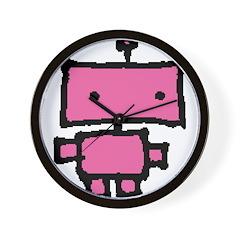 lil pink robot Wall Clock