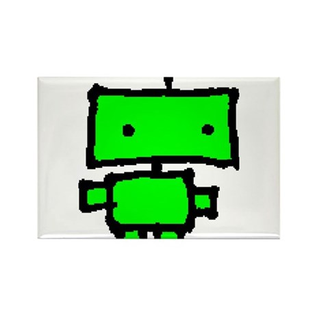 lil green robot Rectangle Magnet
