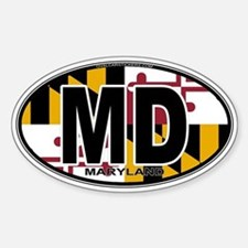 Maryland MD Oval (w/flag) Decal
