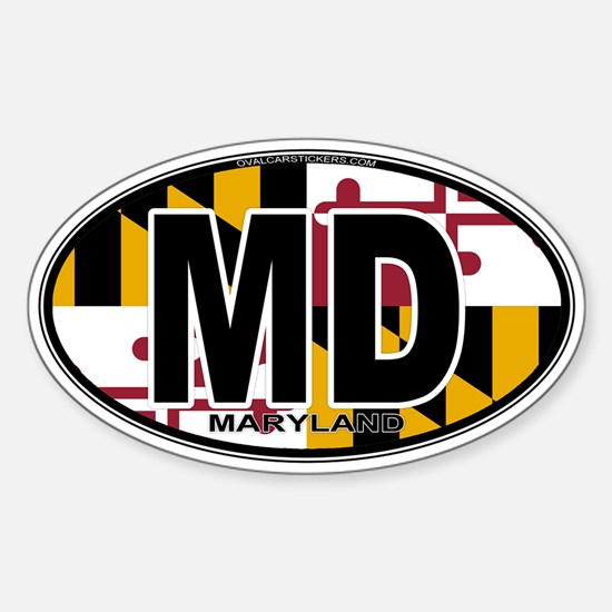Maryland MD Oval (w/flag) Sticker (Oval)