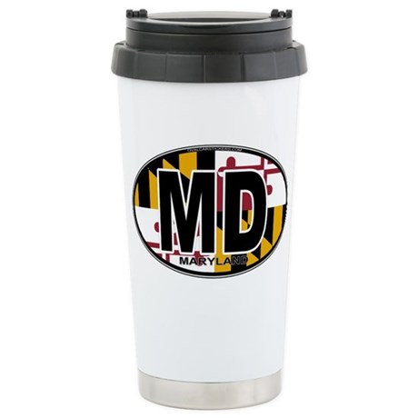 Maryland MD Oval (w/flag) Stainless Steel Travel M