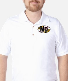 Maryland MD Oval (w/flag) T-Shirt