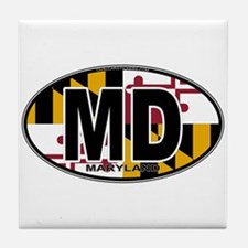 Maryland MD Oval (w/flag) Tile Coaster