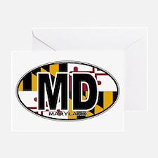 Maryland MD Oval (w/flag) Greeting Card