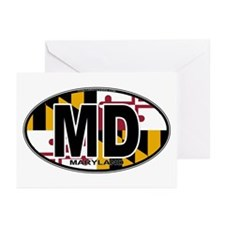 Maryland MD Oval (w/flag) Greeting Cards (Pk of 10