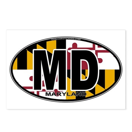Maryland MD Oval (w/flag) Postcards (Package of 8)