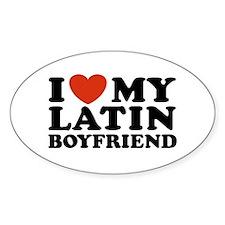 I Love My Latin Boyfriend Oval Decal