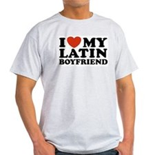 I Love My Latin Boyfriend Ash Grey T-Shirt
