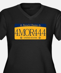Obama 4MOR444 Women's Plus Size V-Neck Dark T-Shir